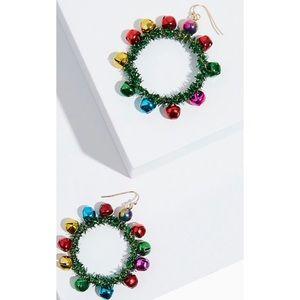 🆕 🎄Holiday Wreath Jingle Statement Earrings XMas